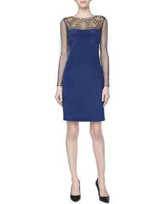 Long-Sleeve Beaded-Neck Cocktail Dress, Navy