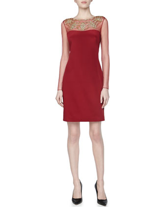 Long-Sleeve Beaded-Neck Cocktail Dress, Red