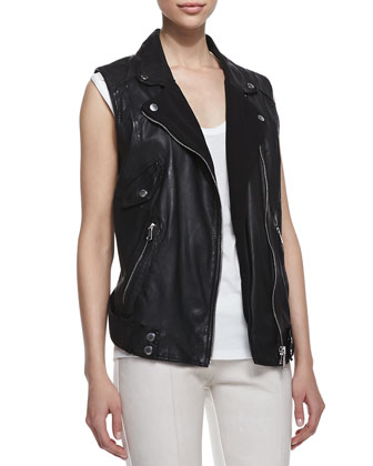 Zip Up Vest, Black & Jersey Epaulet Tee
