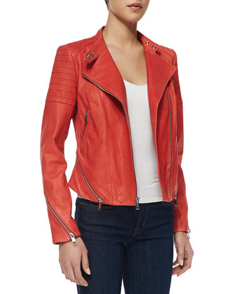 Italian Stone Washed Lambskin Jacket, Sunset