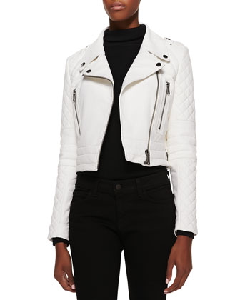 Asymmetric Cropped Leather Moto Jacket