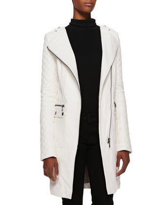 Asymmetric 3/4-Length Leather Jacket