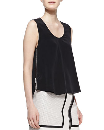 Perforated Leather Jacket, Trapeze Silk and Leather Tank & A-Line ...