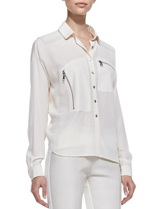 Silk Long Sleeve Button-down Blouse, Canvas