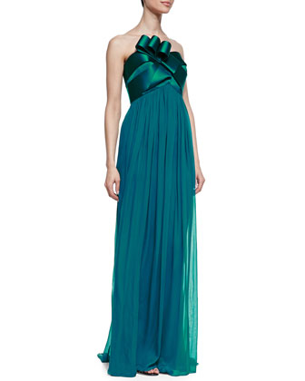 Strapless Chiffon Gown with Bow, Peacock