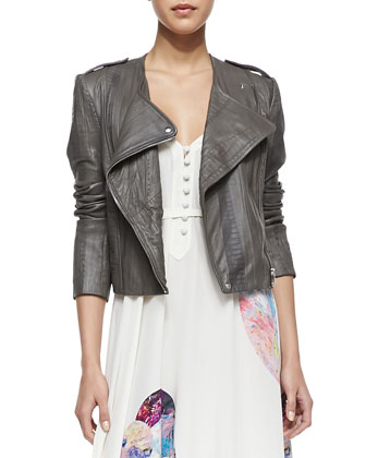 Collarless Moto Long-Sleeve Jacket