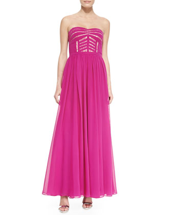 Strapless Sheer-Skirt Gown, Deep Berry
