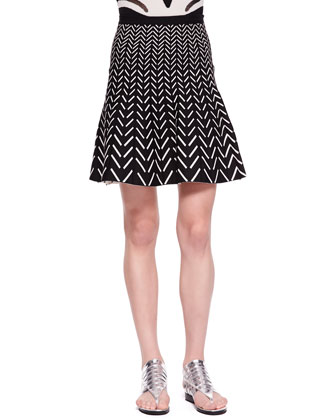 Mesh-Inset Intarsia Top and Fit-and-Flare Chevron Skirt