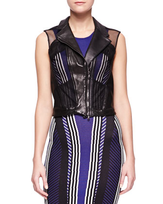 Mesh-Inset Leather Vest and Sleeveless Vertical-Stripe Dress