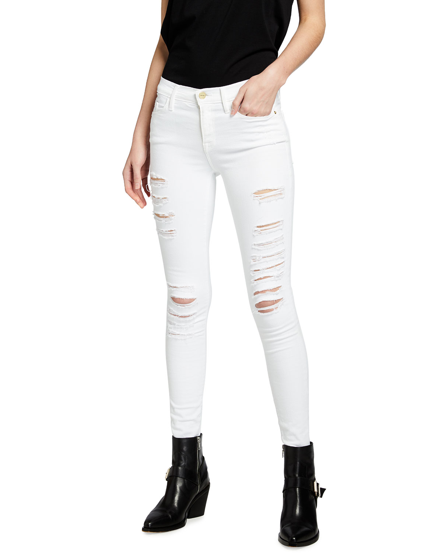 Le Color Rip Skinny Jeans, Film Noir, Size: 25 - FRAME