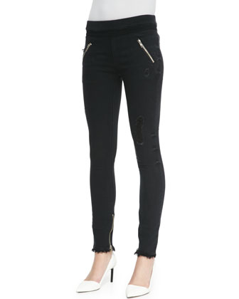 Distressed Zip-Pocket Skinny Jeans, Black Destroyed