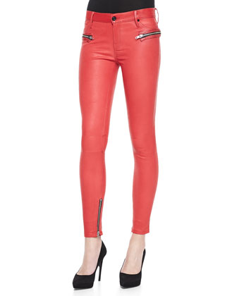 Leather Zip-Pocket Skinny Pants
