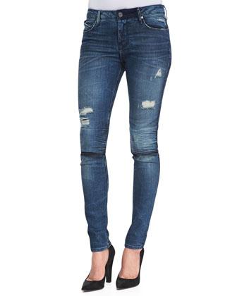 Distressed Knee-Slit Skinny Jeans