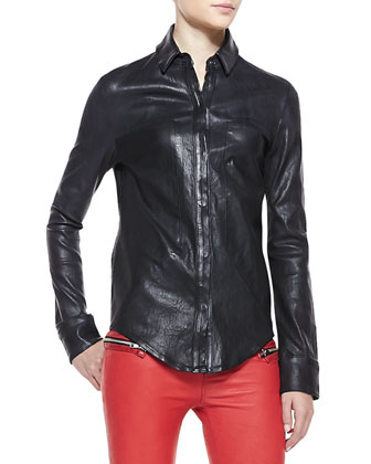 Button-Front Leather Shirt