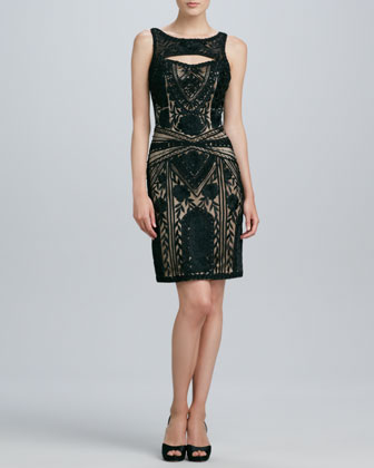 Beaded Keyhole Cocktail Dress