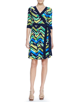 Zigzag-Print Wrap Dress, Women's