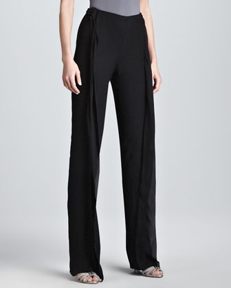 Double-Layer Wide-Leg Evening Pants, Black