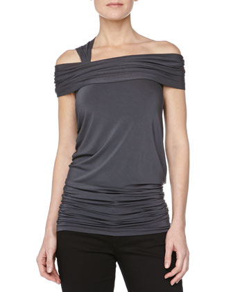 Off-the-Shoulder Ruched Top, Carbon