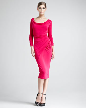 Draped Scoop-Neck Jersey Dress