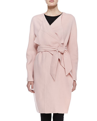 Double-Face Cashmere Coat, Flesh