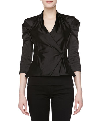 Stretch Satin Wrap Jacket, Black
