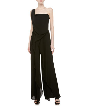One-Shoulder Cupro Ruffled Jumpsuit, Black