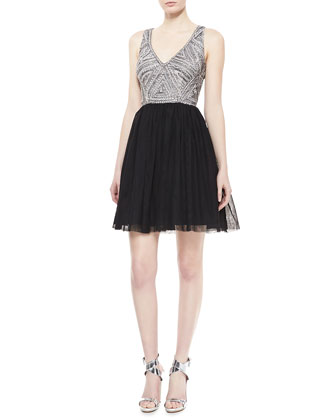 Sleeveless Beaded Bodice Cocktail Dress, Black/Silver