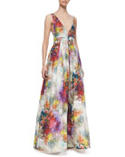 Chantal Floral-Print Sleeveless Gown