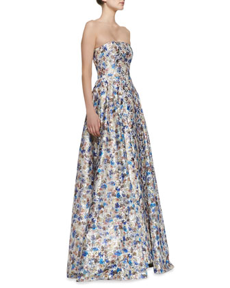 Dreema Strapless Printed Floral Gown