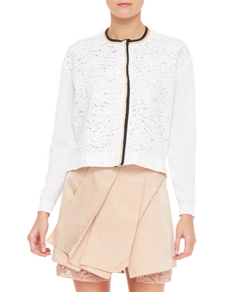 Long-Sleeve Lace Sweater, White