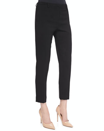 Cropped Straight-Leg Crepe Pants