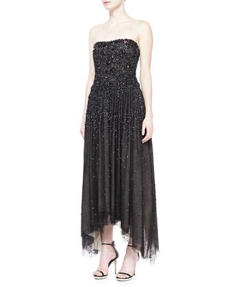 Strapless Shard-Embellished Gown, Black