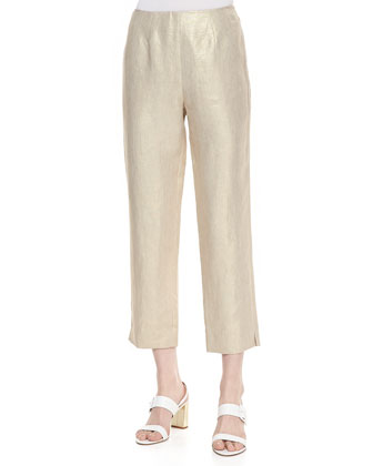 Metallic Linen Cropped Pants