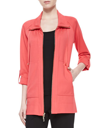 Zip-Front 3/4-Sleeve Topper Lounge Jacket