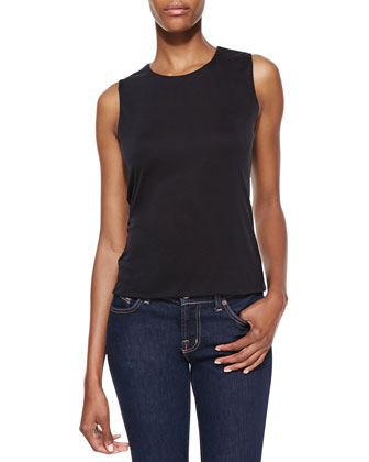 Sleeveless Round-Neck Shell, Black