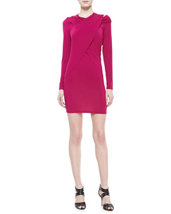 Cold Shoulder Draped Tunic Dress, Magnes Pink
