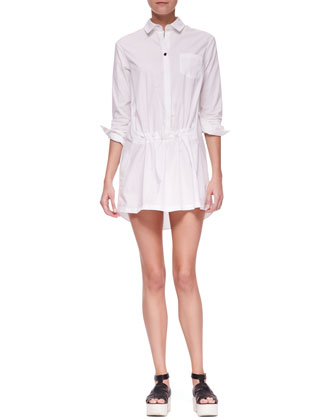 Long Sleeve Gathered Front Shirt Dress, White