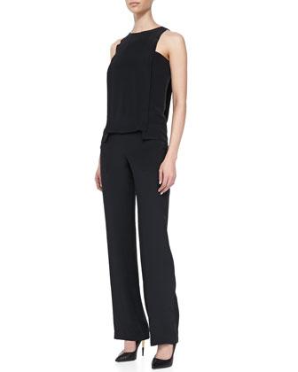 Sleeveless Layered Jumpsuit, Black