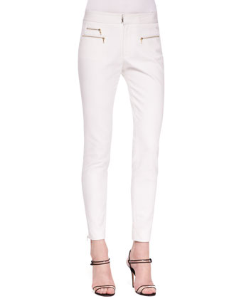 Skinny Zipper Trousers, White