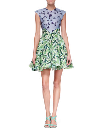 Holly Colorblock Botanical Cap-Sleeve Dress, Multicolor