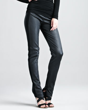 Jersey-Stripe Leather Pants