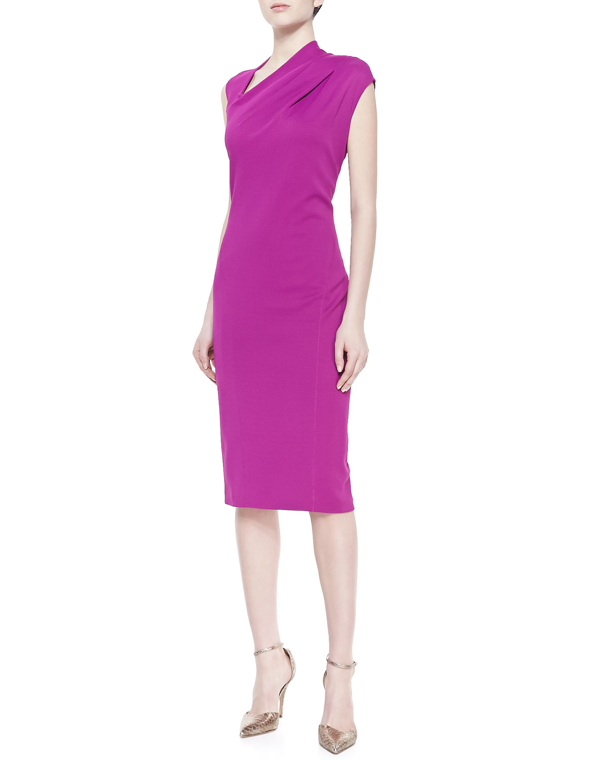 Womens Cap Sleeve Knee Length Dress   Donna Karan   Spinel (MEDIUM)