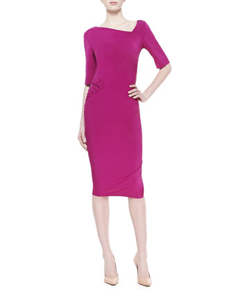 Half-Sleeve Draped Jersey Dress, Magnesium