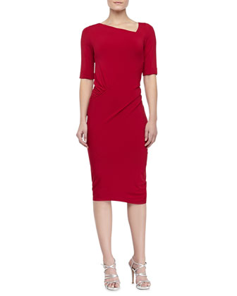 Half-Sleeve Draped Jersey Dress, Lipstick Red