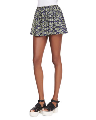 Helix-Print Pleated Wide-Leg Shorts