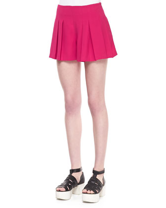 Wide-Leg Pleated Crepe Shorts