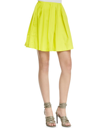 Pleated Neon Tulle Skirt