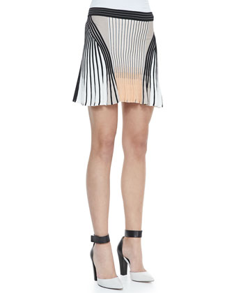 Long-Sleeve Mesh Sweater & Suspension Pleated Cotton Skirt