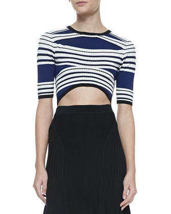 Striped Textured Crop Top