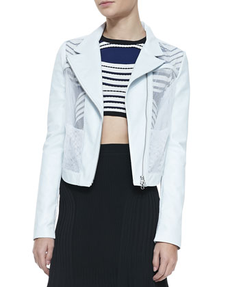 Leather/Mesh Short Jacket, Striped Textured Crop Top & Suspension Long ...